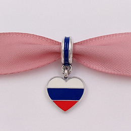 Wholesale Russia Silver - 925 Silver Beads Russia Heart Flag White Blue Red Enamel Fits European Pandora Style Bracelets Necklace for jewelry making 791549ENMX