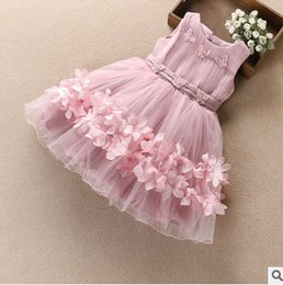 Wholesale Organza Butterfly Flower Girl Dress - Girls dresses 2017 new children stereo flowers butterfly princess vest dress kids applique tulle party dress summer children Ball Gown T2463