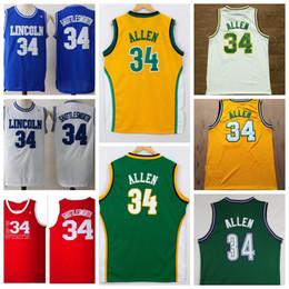 Wholesale Games High School - He Got Game Jesus Shuttlesworth Lincoln High School Ray Allen Basketball Jerseys Throwback Seattle SuperSonics #34 Ray Allen Shirts Cheap