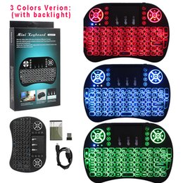 Wholesale Gaming Mouse Sale - Factory Sale For Android Box i8 Backlit Wireless Keyboard Keypad Air Mouse Gaming Remote Control With LED Backlight Lithium Battery