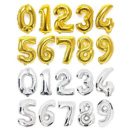 Wholesale Latex Balloons Letters - 16 inches Gold Silver 0-9 Number letter Foil Balloons Digit air Ballons Birthday Party Wedding Decor Event Party Supplies