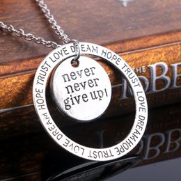 Wholesale Ring Hope - Never Nerver Give Up Necklace Antique Silver Ring Dream Hope Trust Love Pendant necklace for Women Inspire Jewelry 161964