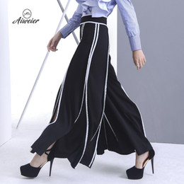 Wholesale Looses Casual Chiffon Long Pants - [Aiweier] Womens Pants Autumn Striped Female Long Wide Leg Pants Korean Style Zipper Black Elegant Loose Casual Trousers QD454