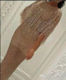 Wholesale Celebrity Style Tassel - Celebrity dress Evening dress Labourjoisie Sheath Tassel Crystal Yousef aljasmi Beads Zuhair murad Long dress Tassels Kim kardashian