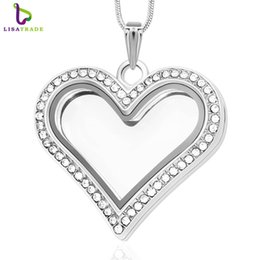 Wholesale Magnetic Heart Pendant Necklace - 5PCS !! Silver Heart magnetic glass floating charm locket Zinc Alloy+Rhinestone(chains included for free) LSFL05-1*5