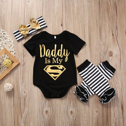 Wholesale toddler warm clothes - Halloween Baby Girl Clothing Dadd Black Romper +Leg Warmer +Headband Jumpsuit Suit Boy Girl Toddler Kid Sunsuit Age 0-24M Factory Onesies