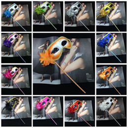 Wholesale Masquerade Masks Sticks - On Stick Flower Mask Halloween Gold Cloth Coated Flowers Side Venetian Masquerade Masks Dancing Party Accessories 3 1gn B R