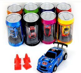 Wholesale Wholesale Mini Rc Cars - Free Epacket color Mini-Racer Remote Control Car Coke Can Mini RC Radio Remote Control Micro Racing 1:64 Car 8803 children toy Gift
