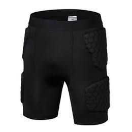 Wholesale Elbow Armor - Rugby Protective Trousers Anti-Collision Running Pants Black Knee-Length Armor Protective Outdoors Shorts Running 5 Points Pants M L XL XXL
