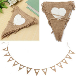 Wholesale Wholesale Church Decorations - Wholesale- Vintage Heart Hessian Burlap Flags Bunting Banner Event Supplies Wedding Church Birthday Party Decoration Craft 2.8M 13Flags