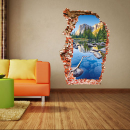 Wholesale live pond - aw3024 Break 3D Wall Stickers Wucaichi (Colorful Pond) : Mountain Scenery Wall Stickers The Door Stick A New Start