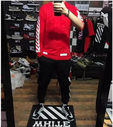 Wholesale Lycra Full Sleeve T Shirt - Full color full 16SS OFF WHITE graffiti OW long sleeves T-shirt deer Han inscribed with the same long-sleeved