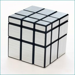 Wholesale Drawing Board Black White - 3x3x3 Magic Cube Puzzle Gold Silver White Black Mirror Cubes Wire Drawing Style Cast Coated Special Toy Gift For Educational