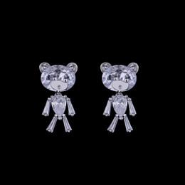 Wholesale Teddy Bear Wholesalers Quality - Cute Zircon Crystal Teddy Bear 925 Sterling Silver Stud Earrings High Quality Animal Earrings Hot Sale Silver Jewelry for Women