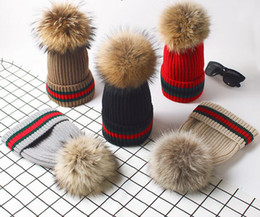 Wholesale Yarn Hair Falls - 2018 Europe and America knitted cap hat winter hats women Upset to keep warm Raccoon hair bulb Ear protection cap ADULT BEANIE NMZ69