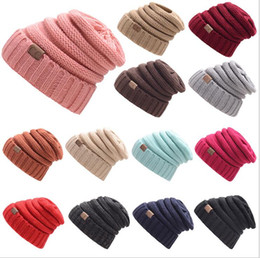 Wholesale Oversized Knitted Hat - New Winter Unisex CC Beanie cap Trendy Warm Oversized Chunky Soft Oversized Cable Knit Slouchy Beanie 17color