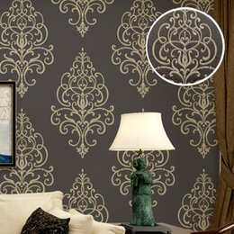 Wholesale Damask Backgrounds - New 3D Embossed Texture Large Damask Wallpaper Roll Gold Brown Vintage Luxury Stencil French Wall Paper Background Wall Covering
