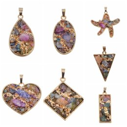 Wholesale Natural Gemstones Pendants - Wholesales Plated Gold Natural Quartz Crystal Cluster Pendant for Making Jewelry Necklace Gemstone Chakra Healing Jewelry