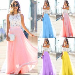Wholesale Sexy Hollow Slim Lace Dress - womens wedding guest dress New Sexy Maxi Dresses Floral Hollow Patchwork Party Slim Long Dress Cap Sleeve Casual Banquet
