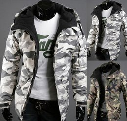 Wholesale Winter Coats For Slim Men - Men's cotton wadded jacket camouflage pattern printing hooded zipper Slim Fit For Man winter Casual Jackets coat free shipping 2017 Fashion