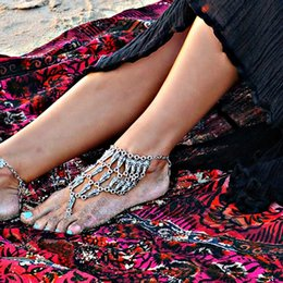 Wholesale Gypsy Anklet - 5Pcs Hot Selling Boho Gypsy Coin Ankle Bracelet Chain Beach Foot Anklets For Women Girls Silver Plated Turkish Jewelry