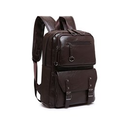 Wholesale Mini Pocket Book - 2017 Korean Style Men Backpack Top Quality Leather Double Shoulder Bags School Bag Book Rucksack for Male Travel Tote Bagpack