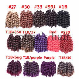 Wholesale Red Synthetic Hair Extensions - Freetress crochet braids synthetic Wand Curl Crochet Hair Extensions havana mambo twist crochet braid wand curl synthetic hair extensions