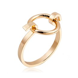 Minimalist Women Gold Geometric Round Ring Original Black U + O Combination Midi Ring Fashion Silver Knuckle Ring For Men Coupons