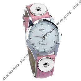 Wholesale Copper Bracelet Watch - Wholesale simplicity fashion PU Leather Snap Watch Bracelet Interchangeable Button Jewelry snap button Watch(fit 18mm 20mm button)DL51