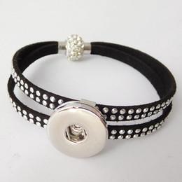 Wholesale Fix Chain - 4 color Noosa chunk snap button charms bracelet genuine leather hot fix rhinestone black bracelets Magnet Clasp fit 18mm snaps