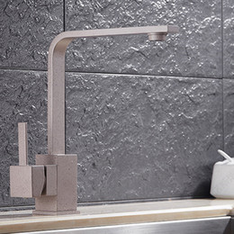 Wholesale Bronze Single Hole Faucets - 2017 Hot Selling !! Quartz Stone Sink Faucet Kitchen With Grey color   Rotatable Faucet With Square Shaped HS303