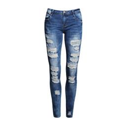 Wholesale Bleach Coat - Wholesale- Boyfriend Jeans Women Pencil Pants Trousers Ladies Casual Stretch Skinny Jeans Female Mid Waist Elastic Holes Pant Fashion 2016