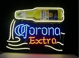 Bicchieri da birra corona online-Fashion New Handcraft CORONA EXTRA BIRRA Real Glass Beer Bar Display insegna al neon 19x15 !!! Migliore offerta!