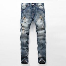 Wholesale Justin Bieber Pants Size Xs - Wholesale- Fashion kanye west punk rock ripped jeans for men vintage slim moto biker jeans homme mens justin bieber distressed denim pants