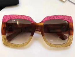 Wholesale Len Cases - Luxury Oversize glittered square-frame 0083S Sunglasses Brown Gradient Len Women Fashion Designer Sunglasses Brand New with Case