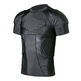 Wholesale Protective Shirt - TUOY Men's Boys Safe Guard Padded Compression T-shirt Protective Short Sleeve Shirt Rib Chest Shouder Protector Suit for Paintball Football