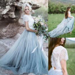 Wholesale Short Fairy Wedding Dresses - 2017 Fairy Beach Boho Lace Wedding Dresses High-Neck A Line Soft Tulle Cap Sleeves Backless Light Blue Skirts Plus Size Bohemian Bridal Gown
