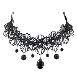Wholesale Necklace Black Crystal Flower - New Design Black Lace Flower Pattern Tattoo Choker Necklaces with Beads Charms Pendants for Women