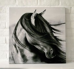 Wholesale High Quality Horse Oil Painting - Framed black white horse,High Quality Genuine Hand Painted HOME WALL DECAR Abstract ART oil Painting On Canvas Multi size Free Shipping