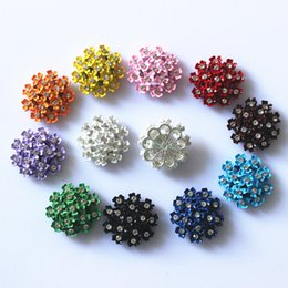 Wholesale Blue Buttons 25mm - 50Pcs 25mm Multicolor Alloy Button Rhinestone Diamond Button Wedding Decoration Girl Jewelry DIY Hair Accessory