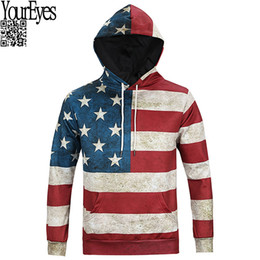 Wholesale American Flag Pullover - Wholesale- 2016 Hoodies Men Sudaderas Hombre With Hooded Mens Hoodie Sweatshirt American Flag Digital Printing Suit Men Hoody Tracksuit