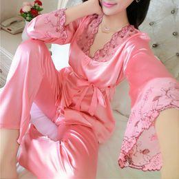 Wholesale Ladies Long Sleeve Pajamas Sleepwear - Wholesale- 2016 Autumn Women Ladies Sexy Flower Lace Satin Silk Pajamas Sets Long Sleeve Tops+Pants Sleepwear mujer Nightwear pyjama femme