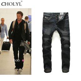 Wholesale Wear Jeans - Wholesale- 2017 Fashion Beckham wear Cotton Slim straight black jeans skinny homme jeans biker mens Casual hip hop joggers pants size 28-
