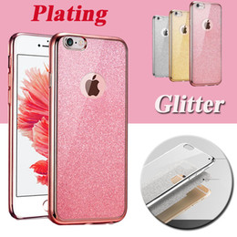 Wholesale Note Rubber Case - Plating Glitter Electroplating Ultra Slim Clear Crystal Rubber TPU Soft Case Cover For iPhone 8 7 Plus 6 6S 5S 5 Samsung S8 S7 Edge Note 5