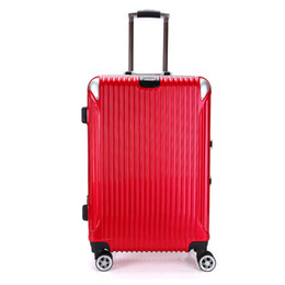 Wholesale Trolley Luggage Bags Brands - Brand New18 inch Women Bording Luggage Carry On School Bags Suitcase Magal Trolley Bags Metalic Aluminium Draw Bar Box Spinner