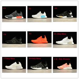 Wholesale Solar Red - SALE SALE SALE NMD Runner Shoes Black Gold Solar Red Sun Glow NMDs R1 FTWR Mens Womens Running Sneakers Size EU36-45 Top Quality Real Boost