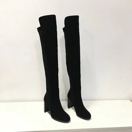 Wholesale Cm Boots - 2018 Name Brand Original Box Thigh High Boots Woman Fashion Designer Chunky Heel Slip On 9 CM Heel Lady Shoes Size 35-40