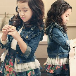 Wholesale Jean Jackets 5t - Pydownlake New Arrivel Girls Denim Jacket Children's Denim Jacket Girls Jean Jackets Kids Coat Long Sleeve Button Denim Jackets