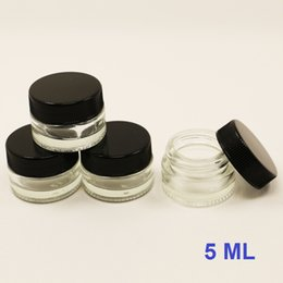 Wholesale Glass Food Containers Lids - small glass storage jars 5ml custom transparent cylindrical glass container tempered pyrex dab wax glass food containerjar with plastic lid