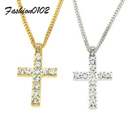 Wholesale Silver Man Cross - Hip Hop Cross Pendant Men Women Jewelry Iced out Gold Silver Color Bling Rhinestone Crystal Cross Pendant Necklace Chain